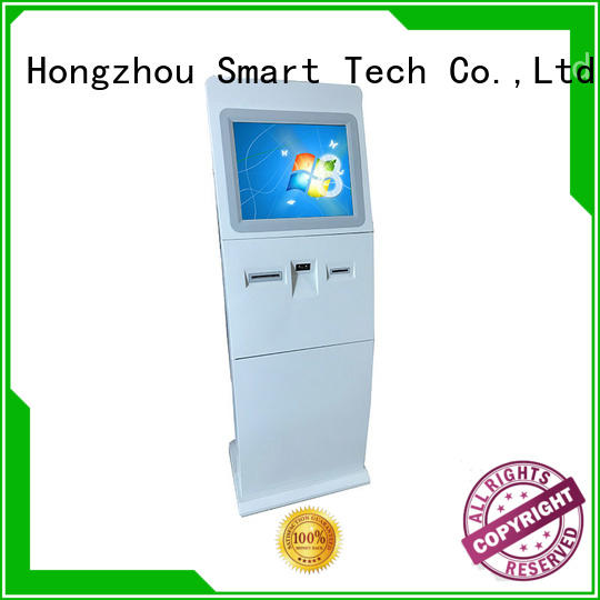Floor standing touch screen information kiosk with bar code reader