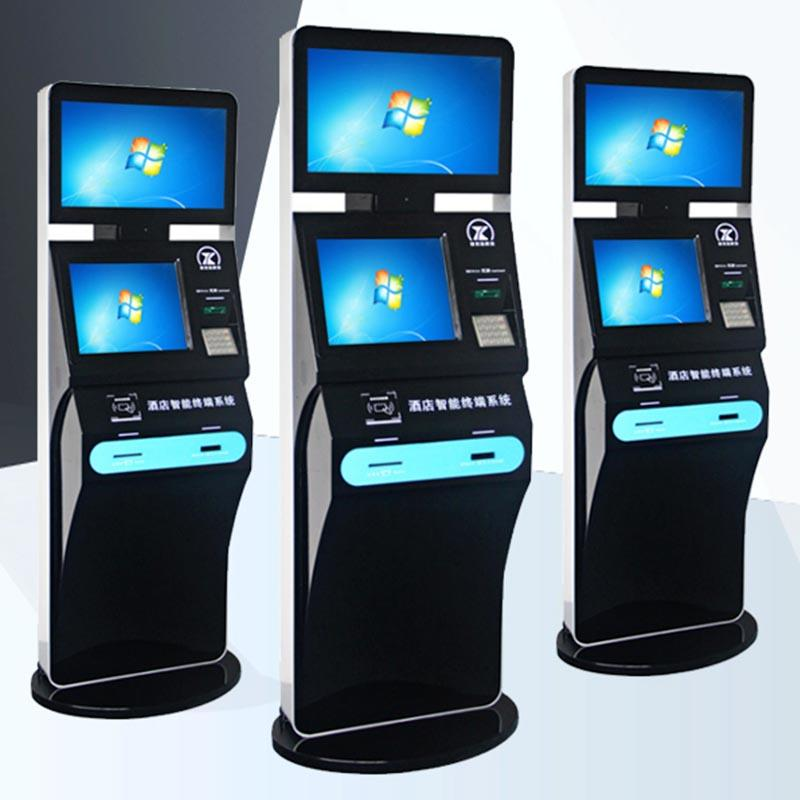 Self-service Hotel check in kiosk with card dispenser