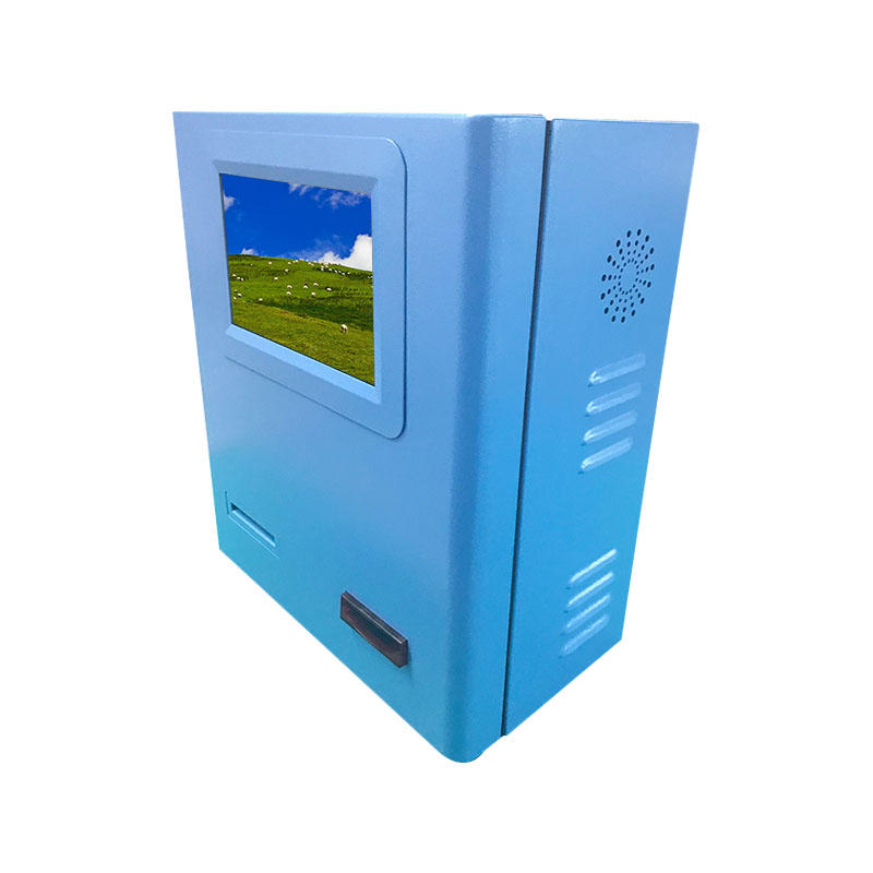 Wall mounted payment kiosk with blue powder coated in bank