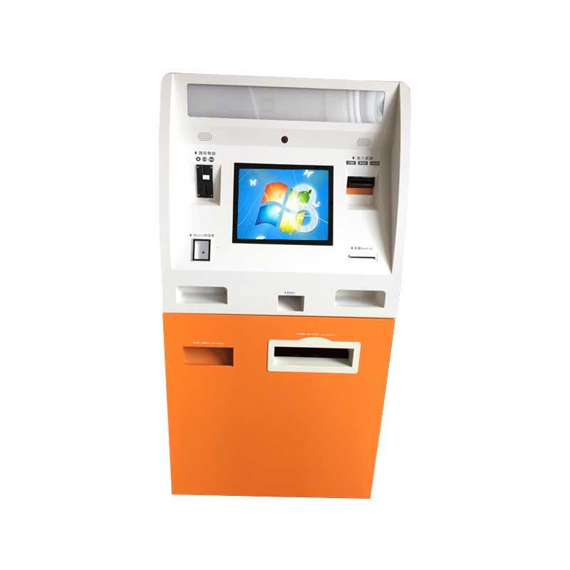Self service payment kiosk with coin and cash acceptor and dispenser