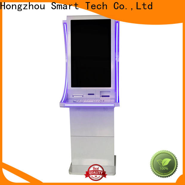 wall mounted payment kiosk keyboard in bank