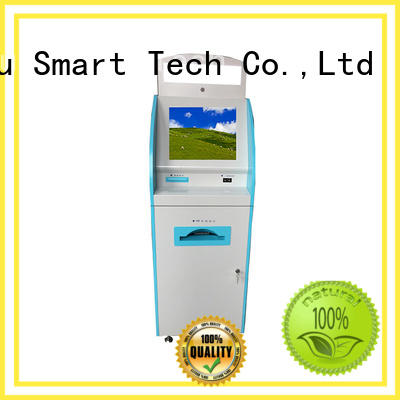 Touch screen internet patient self check in kiosk for line up in hospital with coin operated and metal key board