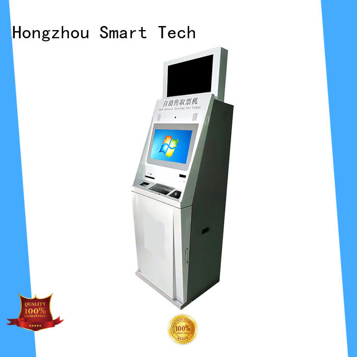 capacitive ticket kiosk machine with printer on bus station