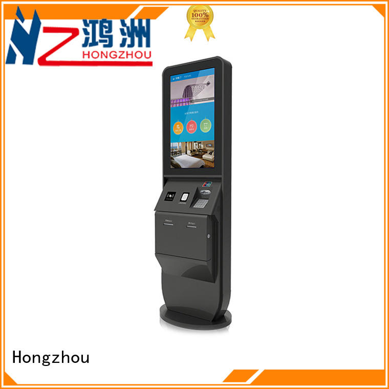 led hotel check in kiosk with barcode scanner in hotel