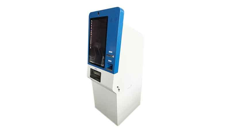 27 inch touch screen cash accept and dispenser payment kiosk with camera and thermal printer in shopping and hotel