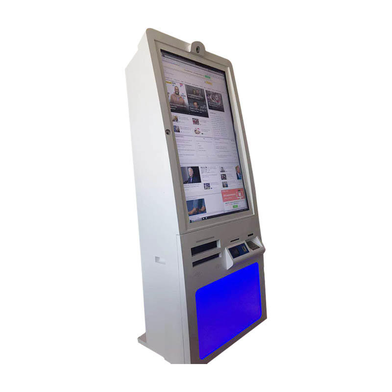 Customized 46 inch self service kiosk with card reader, PINpad, camera, finger printer and speaker in hospital