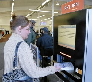 high quality library self checkout kiosk for busniess in library-2