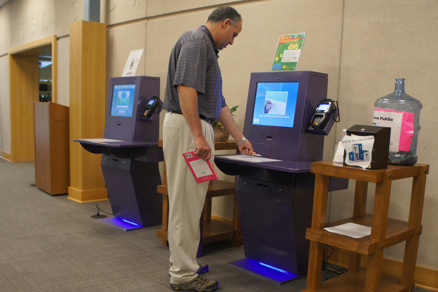 high quality library self checkout kiosk for busniess in library-4