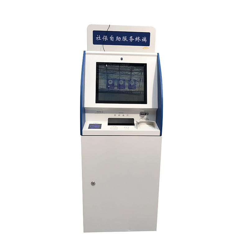 19 inch capacitive touch screen internet hospital check in kiosk for line up with coin operated and metal key board