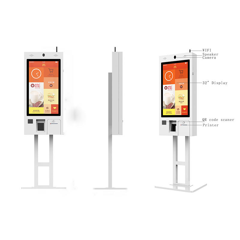 Mcdonald self ordering kiosk, with touch screen, printer, QR code scanner, speaker, pos terminal