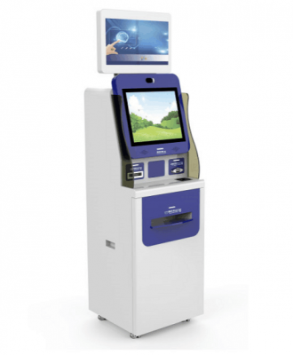 Dual screen report printing Kiosk with A4 printer ID card reader QR card reader in hospital