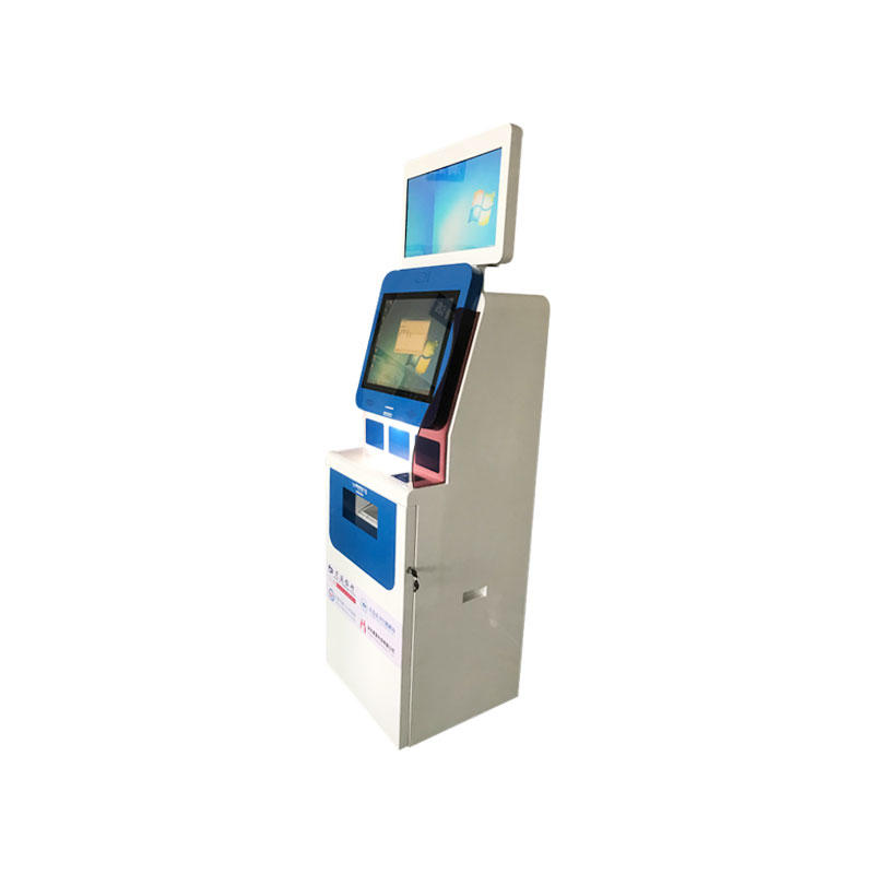 Dual screen Kiosk with A4 printer ID card reader QR card reader in hospital-3
