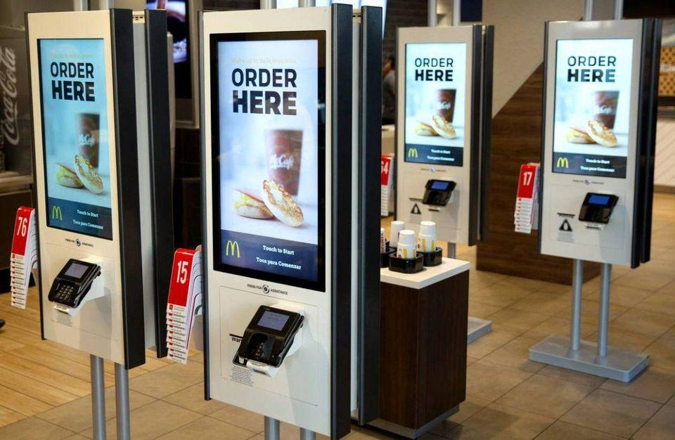 Hongzhou self service kiosk with pos terminal for fast food store-2