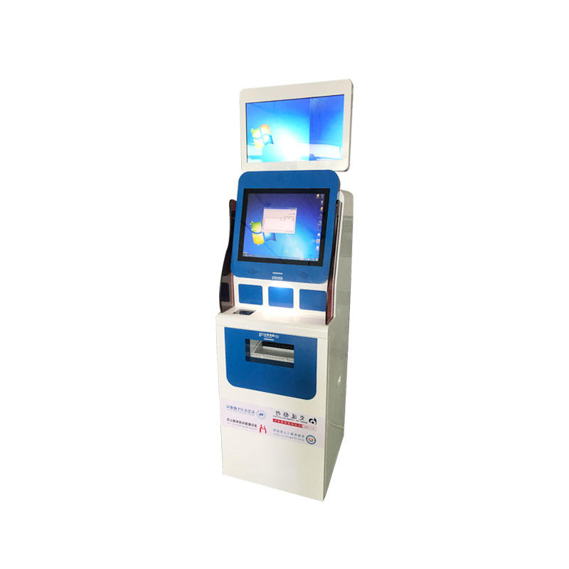 Dual screen Kiosk with A4 printer ID card reader QR card reader in hospital-1