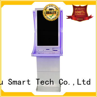 New elegant design 32 inch cash exchange kiosk Cash with LED light and Metal Keyboard